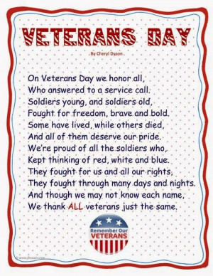 ... veterans is an celebrative peoms about Veterans Day of Chelry Dyson