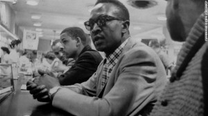Franklin McCain, seen center wearing glasses, one of the