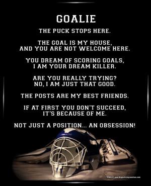 Lacrosse Goalie Sayings Framed ice hockey goalie