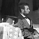 Photo of President Abraham Lincoln in Gen. George B. McClellan's tent