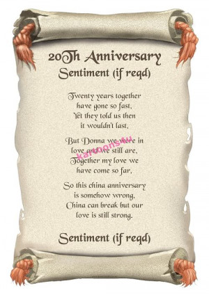 20th Anniversary (China) Personalised Poem