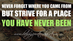 Never forget where you came from but strive for a place you have never ...