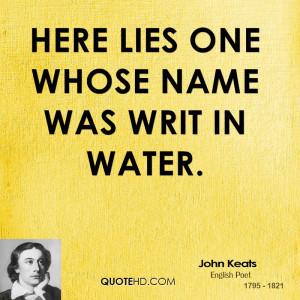 Here Lies One Whose Name...