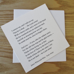 James Whitcomb Riley - Bereavement Card - With Sympathy Card - Quote ...
