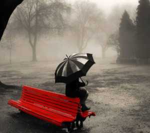 Wallpaper,black and wight,retro,red bench,rain,umbrella