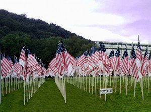 The Flags of Honor and Flags of Heroes in The NYC 9/11 Memorial Field