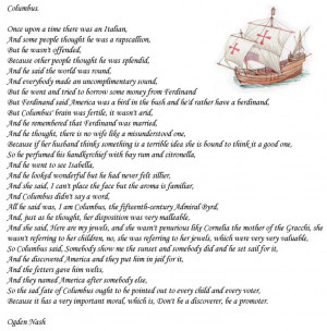 Columbus by Ogden Nash. One of my favourite poems since childhood, I ...