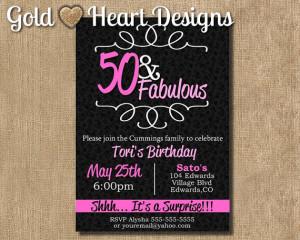 50 and Fabulous Birthday Invitation