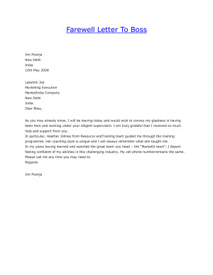 Farewell Letter To Boss by sayeds