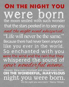 On the night you were born Birth Announcement Set 8x10. $20.00, via ...