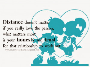 ... most is your honesty and trust for that relationship to work out