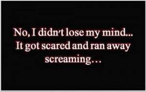No, I didn't lose my mind... It got scared and ran away screaming ...