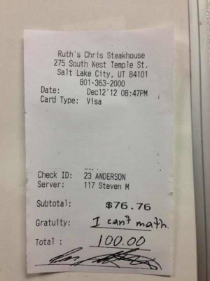friend who works in a classy restaurant received this as a tip