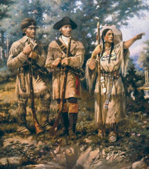 William Clark (left), Meriwether Lewis (center), and Sacagawea (right ...