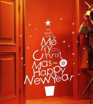 Xmas Merry Christmas & Happy New Year Quote Glass Shop Window Decal ...