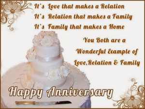 ... wonderful example of love, relation and family. Happy anniversary