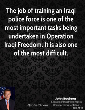 The job of training an Iraqi police force is one of the most important ...