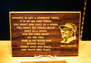 famous Lombardi quote on a plaque.