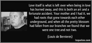 Love itself is what is left over when being in love has burned away ...