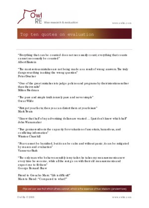 Top ten quotes on evaluation - Owl RE Wise research & evaluation PDF: