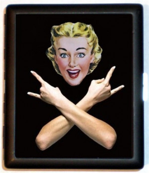 1950s Super Cheerful Kitsch Retro Housewife Makes Heavy Metal Hand ...