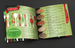 Print designs and branding for Italian restaurant chain in Cairo.