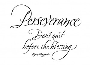 ... perseverance…and perseverance says,