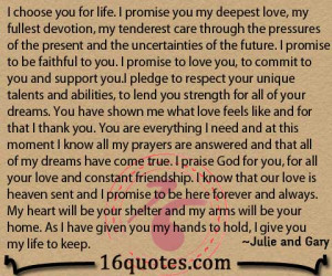 choose you for life i promise you my deepest love my fullest ...