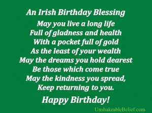 An irish birthday blessing birthday quote