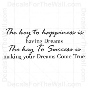 -Key-to-Happiness-is-Having-Dreams-Success-Wall-Decal-Vinyl-Art-Quote ...