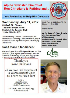 Alpine Township Fire Chief Ron Christians' Retirement Celebration