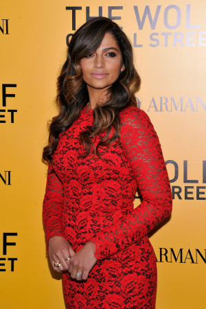 Camila Alves wore a fitted red dress to the NYC premiere of The Wolf ...