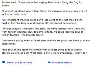 ... on 10th French player, old Alan Pardew quotes make for funny reading