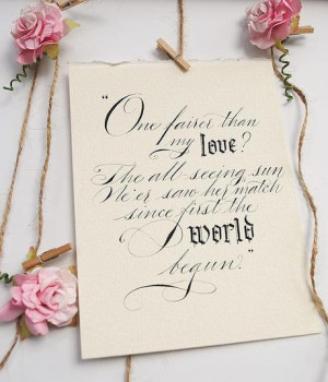 Quotes from Shake­speare as wed­ding decor: Romeo & Juliet, and Son ...
