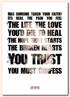 FOO FIGHTERS Best Of You - typography song lyric unframed poster art ...