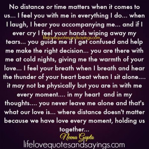 No Distance Or Time Matters..
