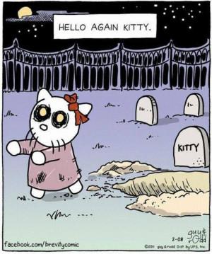 Funny hello again kitty halloween cartoon