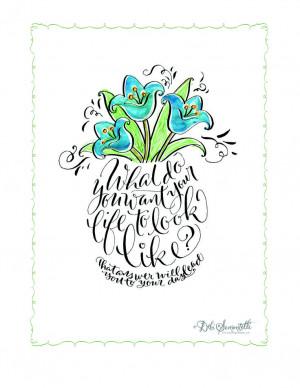 Free Printable Flower Vase saying by Debi Sementelli of Lettering Art ...