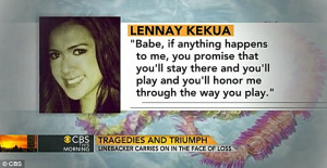 ... on CBS during an interview with Te'o, when he talked about her 'death