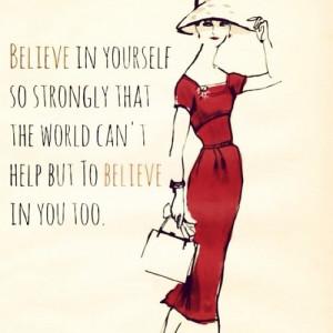 inspiration, quote, red dress, self esteem