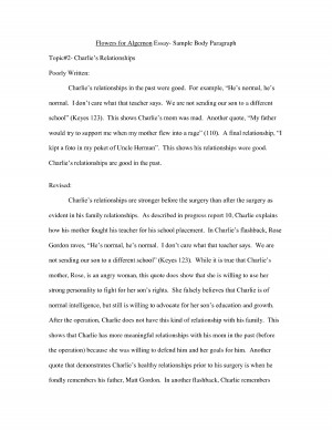 Flowers for Algernon Essay Sample Body Paragraph Quote by MikeJenny