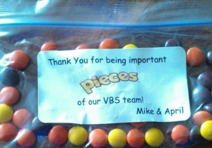 ... our VBS workers this year instead of a card! We used Reese's Pieces