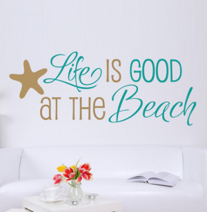 Good At The Beach Quote Vinyl Decal Wall Art - Starfish, Beach Quote ...