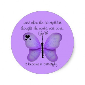 Hearts and Purple Butterfly Quote Stickers