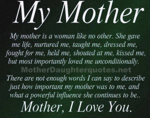 mother daughter quote I love