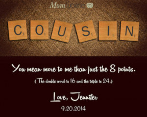 Tile Print Personalized Cousin Gift from Cousin Gift For Cousin ...
