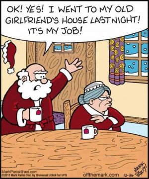 Funny Mr and mrs claus cartoon
