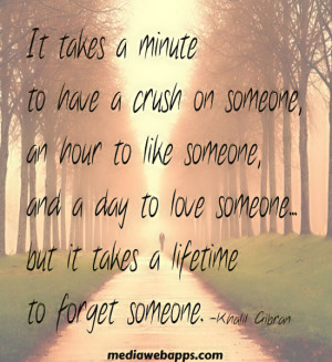 It takes only a minute to get a crush on someone, an hour to like ...