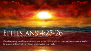 Bible Verses Ephesians 4:25-26 Ocean Sunset HD Wallpaper