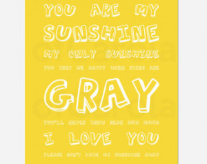 You Are My Sunshine Quote Nursery Wall Art Print PERSONALIZED - Kids ...